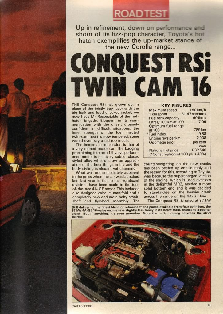 TOYOTA CONQUEST RSi TWINCAM 16 [SERIES 2 4AGE]